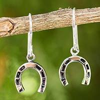 Sterling silver dangle earrings, 'Good Luck Horseshoes' (Thailand)