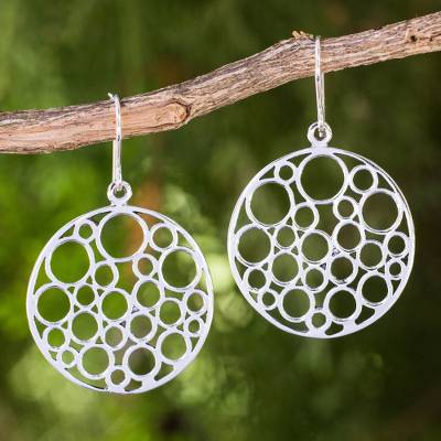 Sterling silver dangle earrings, 'Strength in Togetherness' - Contemporary Style Round Sterling Silver Dangle Earrings