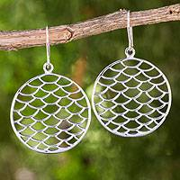 Sterling silver dangle earrings, 'Scales' - Thai Handmade Sterling Silver Fish Scale Dangle Earrings
