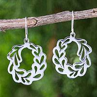 Sterling silver dangle earrings, 'Laurel Wreath' - Artisan Crafted Sterling Silver Laurel Wreath Earrings
