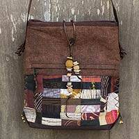 Leather accented hemp blend shoulder bag, 'Brown Happiness' - Leather Trimmed Brown Patchwork Fabric Shoulder Bag