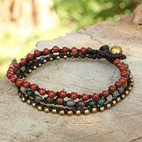 Jasper and agate beaded bracelet, 'Natural Mix'