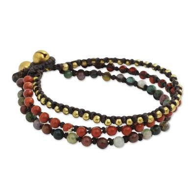 Beaded Macrame Bracelet with Jasper, Agate and Brass