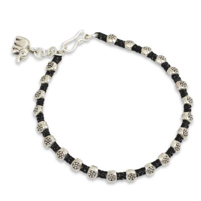 Black Macrame Bracelet with 950 Silver Hill Tribe Beads