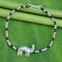 Silver beaded macrame bracelet, 'Elephant Joy'