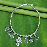 Silver charm bracelet, 'Karen Charm' (Thailand)