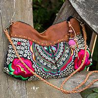 Leather accented shoulder bag , 'Red Mandarin Garden' - Embroidered Floral Shoulder Bag with Leather Accents