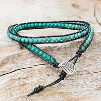 Turquoise and leather wrap bracelet, 'Hill Tribe Blue' - Handcrafted Thai Reconstituted Turquoise Leather Bracelet