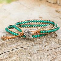 Turquoise and leather wrap bracelet, 'Tribal Blue' - Thai Handmade Reconstituted Turquoise Brown Leather Bracelet