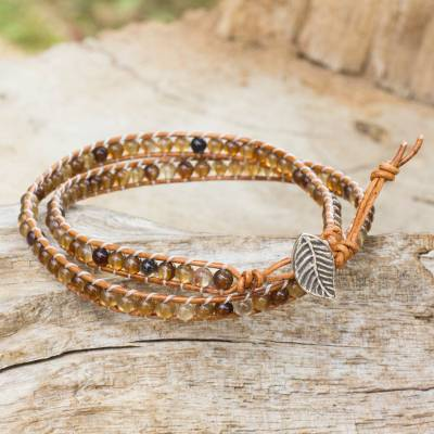 Agate and leather wrap bracelet, 'Hill Tribe Warmth' - Handcrafted Thai Brown Leather Bracelet with Golden Agates
