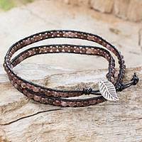 Quartz and leather wrap bracelet, 'Hill Tribe Lands in Black' - Hand Crafted Black Leather Bracelet with Brown Quartz Beads