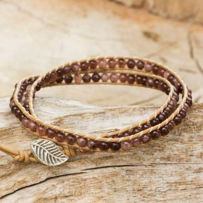 Quartz and leather wrap bracelet, 'Hill Tribe Lands in Brown' - Brown Quartz and Brown Leather Hand Made Wrap Bracelet