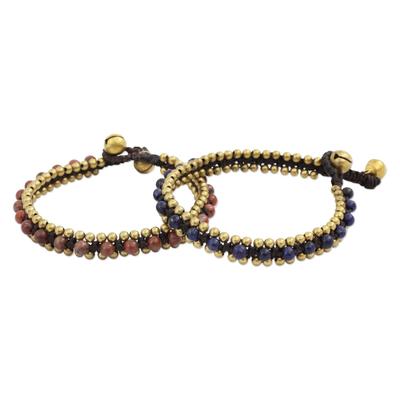 Beaded Macrame Lapis Lazuli and Jasper Bracelets (Pair)
