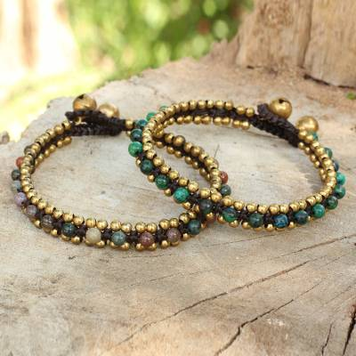 Serpentine and agate bracelets, 'Happy Times' (pair) - Fair Trade Beaded Bracelets with Serpentine and Agate (Pair)