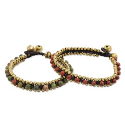 Beaded Fair Trade Bracelets with Jasper and Unakite (Pair)