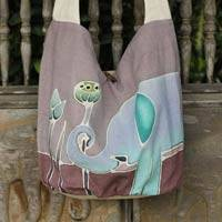 Cotton batik shoulder bag, 'Gentle Elephant' - Purple Cotton Batik Shoulder Bag with Elephant Motif