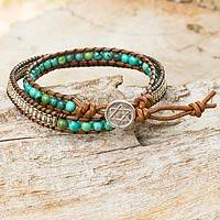 Silver and leather wrap bracelet,