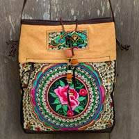 Leather accented shoulder bag, 'Mandarin Hmong in Yellow' - Yellow Canvas Shoulder Bag with Floral Embroidery