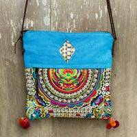 Leather accented shoulder bag, 'Mandarin Hill Tribe in Blue' - Women's Shoulder Bag with Embroidery and Leather Trim