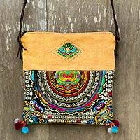Leather accented shoulder bag, 'Mandarin Hill Tribe in Yellow' - Yellow Hill Tribe Style Shoulder Bag with Embroidery