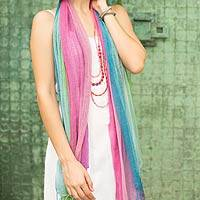 Silk scarves, 'Breezy Spring' (pair) - Handcrafted Raw Silk Scarves in Pastel Shades (pair)