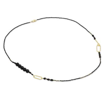 Artisan Crafted Gold Plate and Onyx Wrap Beaded Necklace