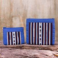 Cotton blend cosmetic bags, 'Exotic Lisu in Blue' (pair) - Fair Trade Blue/Multicolor Cotton Blend Cosmetic Bags (Pair)