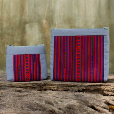 Cotton blend cosmetic bags, 'Exotic Lisu in Gray' (pair) - Artisan Crafted Cotton Blend Multicolor Makeup Cases (Pair)