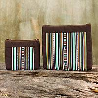 Cotton blend cosmetic bags, 'Exotic Lisu in Brown' (pair) - Hill Tribe Style Cotton Blend Cosmetic Bags (pair)