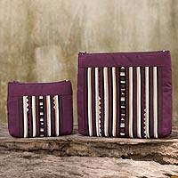 Cotton blend cosmetic bags, 'Exotic Lisu in Wine' (pair) - Maroon Cotton Blend Cosmetic Cases from Thailand (pair)