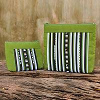 Cotton blend cosmetic bags, 'Exotic Lisu in Lime Green' (pair) - Fair Trade Lime Green Cotton Blend Makeup Bags (pair)
