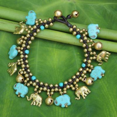 Beaded charm bracelet, 'Elephant World' - Elephant Charm Bracelet with Brass and Blue Calcite Beads