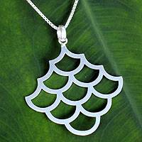 Sterling silver pendant necklace, 'Fish Scales' - Artisan Crafted Brushed Sterling Silver Pendant Necklace