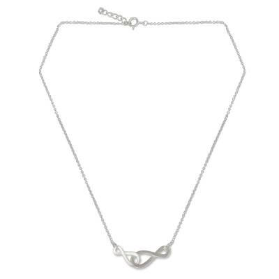 Brushed Sterling Silver Necklace with Infinity Symbols