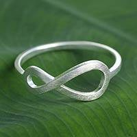 Sterling silver ring, 'Into Infinity' - Women's Brushed Sterling Silver Infinity Symbol Ring
