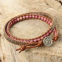 Rhodonite and leather wrap bracelet, 'Star of David' - Leather Wrap Bracelet with Rhodonite and Hill Tribe Silver