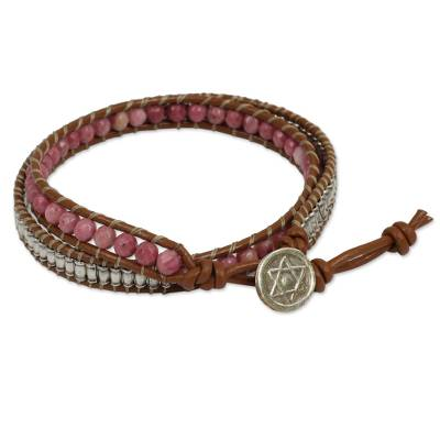Leather Wrap Bracelet with Rhodonite and Hill Tribe Silver