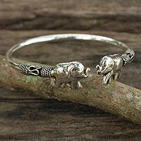 Sterling silver cuff bracelet, 'Proud Elephant' - Artisan Crafted Sterling Silver Elephant Cuff Bracelet