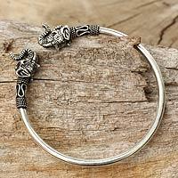 Sterling silver cuff bracelet, 'Cheerful Elephant' - Elephant Themed Silver 925 Cuff Bracelet from Thailand
