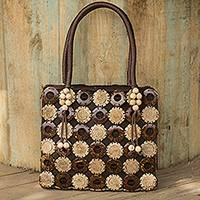 Coconut shell handbag, 'Sunflower Garden' - Unique Carved Coconut Shell Handbag with Cotton Lining