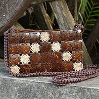 Coconut shell shoulder bag, 'Tropical Tiles' - Handcrafted Thai Coconut Shell Macrame Shoulder Bag