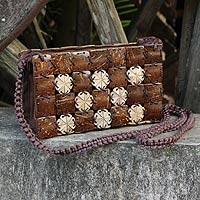 Coconut shell shoulder bag, 'Flowers Squared' - Handmade Coconut Shell Purse with Cotton Lining