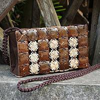 Coconut shell shoulder bag, 'Tropical Parquet' - Fair Trade Shoulder Bag Crafted from Coconut Shell