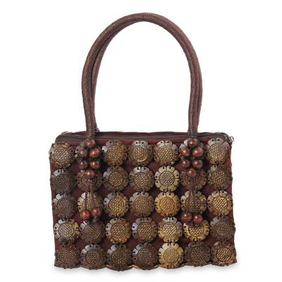 Artisan Crafted Brown Coconut Shell Handbag from Thailand