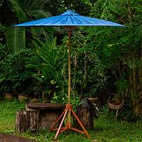 Decorative garden umbrella, 'Happy Garden in Blue' - Fair Trade Garden Decor Cotton and Bamboo Umbrella