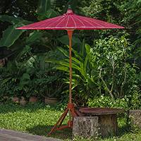 Decorative garden umbrella, 'Happy Garden in Crimson' - Bamboo and Cotton Handmade Red Garden Umbrella