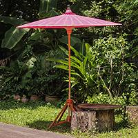 Decorative garden umbrella, 'Happy Garden in Pink' - Pink Garden Umbrella Crafted from Cotton and Bamboo