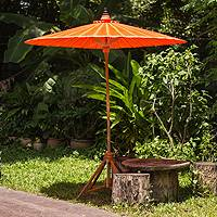Decorative garden umbrella, 'Happy Garden in Orange' - Artisan Crafted Decorative Orange Cotton Garden Umbrella