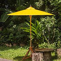 Decorative garden umbrella, 'Happy Garden in Yellow' - Yellow Cotton Garden Umbrella Handmade in Thailand