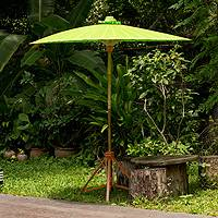 Decorative garden umbrella, 'Happy Garden in Bright Green' - Lime Green Garden Umbrella Crafted of Cotton and Bamboo